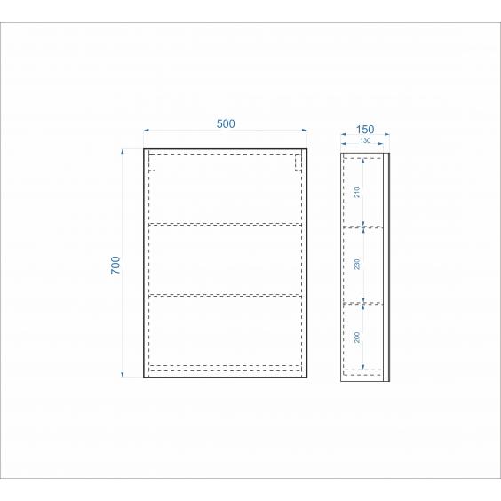 Дзеркальна шафа Standard 50 см