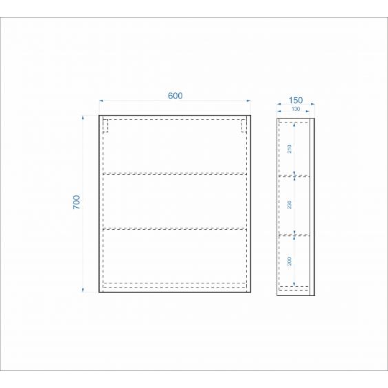 Дзеркальна шафа Standard 60 см