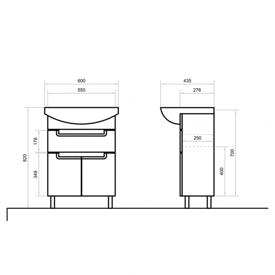 Тумба SIMPLI з ящ. 60 см з умивальником Артеко 60
